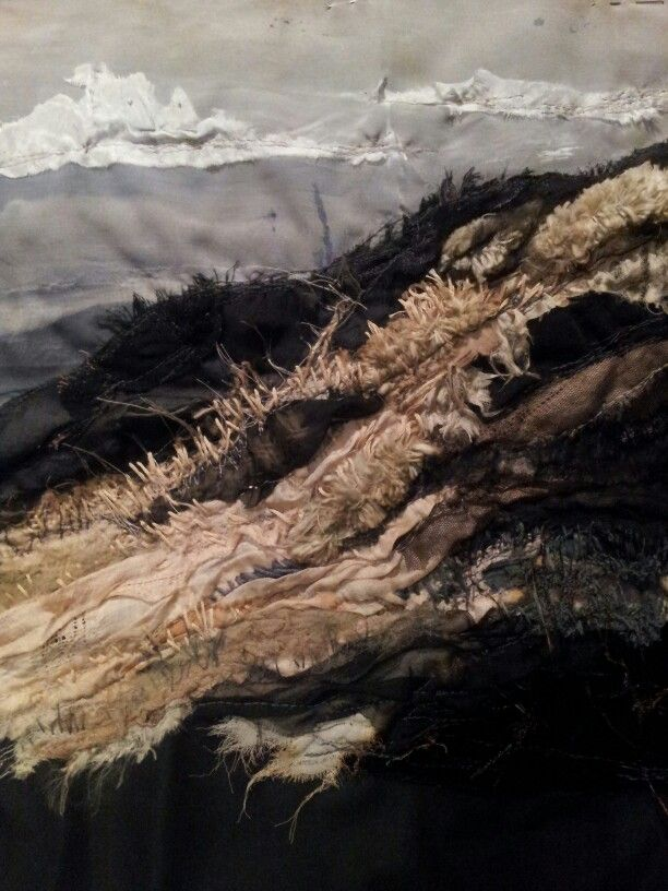 Bamburgh Dunes. Laura Edgar # textile art # embroidery #vintage fabric www.lauraedgar.co.uk