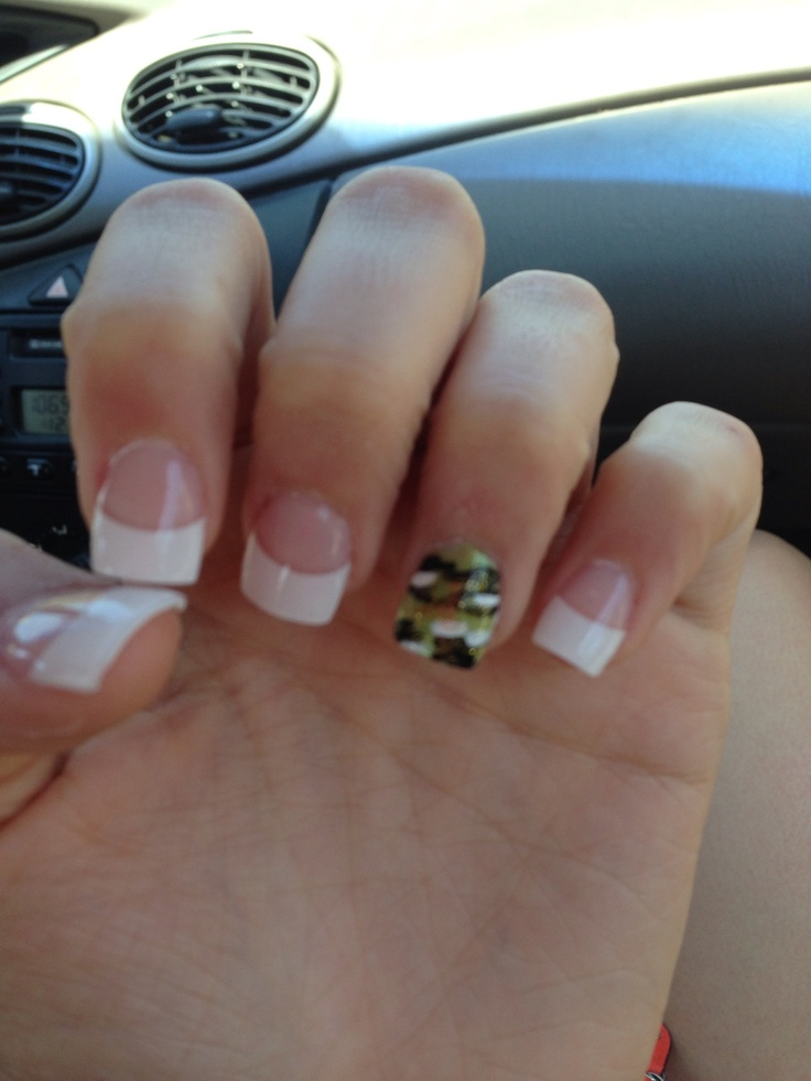 French tips with one lone camo nail - subtle yet bold art for your nails.