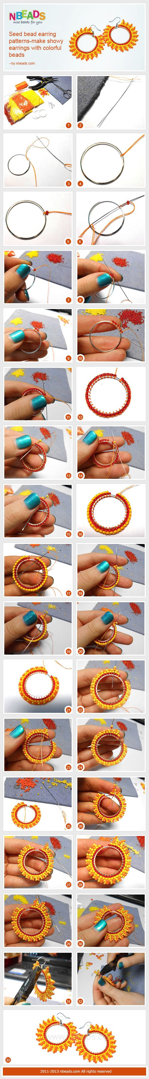 seed bead earring patterns-make showy earrings with colorful beads