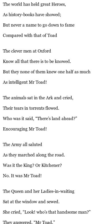 mr toad poem
