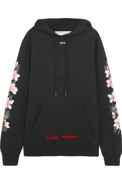 Off-White - Oversized Printed Cotton-jersey Hooded Sweatshirt - Black