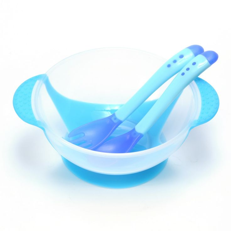 3Pcs/set Baby Learning Dishes With Suction Cup Assist Food Bowl Temperature Sensing Spoon Baby Tableware