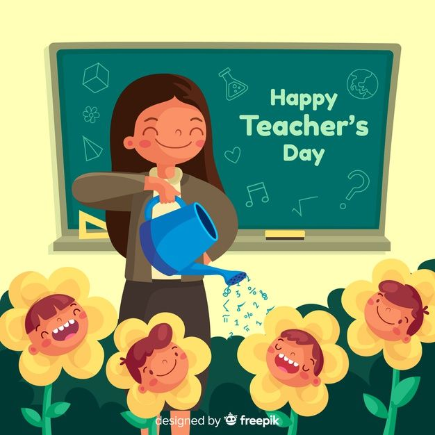 Download Flat Design Teacher Watering Flowers For Free Teachers Day Drawing Art Drawings For Kids Happy Teachers Day