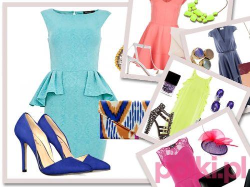 Na wesele - mocne kolory, a w tym modne pastele. Przyjęło się, że na ślub ubieramy się w jasne barwy. Nic w tym dziwnego, w końcu to pełne radości święto. Biel i jego odcienie pozostawmy pannie młodej, a same skorzystajmy z pasteli. Proponujemy krótkie, wygodne sukienki np. z baskinką, które uzupełniamy seksownymi szpilkami i sandałkami na obcasie + kopertówka.