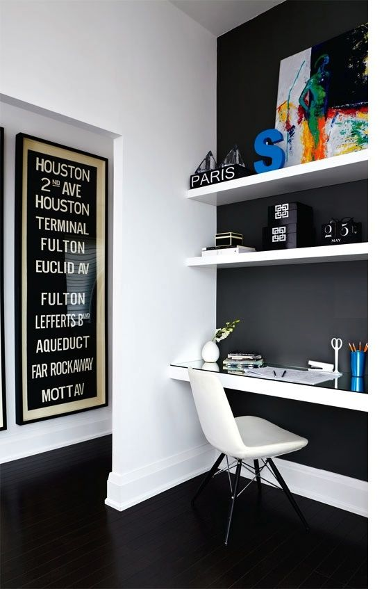 French By Design. Love the monochrome effect here with the study area. I might not be daring enough for black but the contrast is very effective. This is perfect for my boyfriend as a computer area.. Then he'll let me have that dog and walk in closet, I bet?