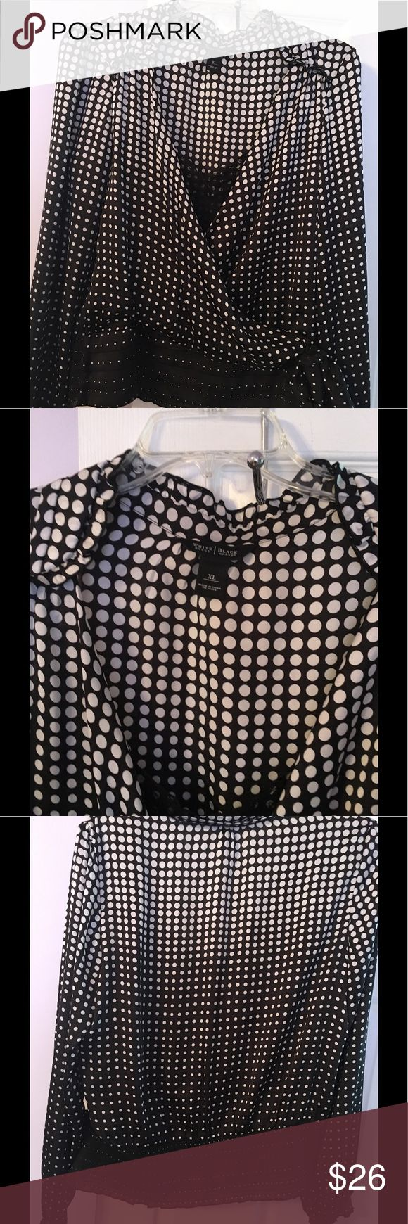 White House Black Market Black White Polka Dot White House Black Market Black White Polka Dot Top Lace Shell Flattering cotton stretch shapes a structured silhouette Notched collar, Long sleeves with button cuffs White House Black Market Tops Blouses