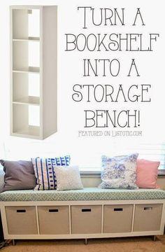 Best DIY Projects: 20 Creative Furniture Hacks :: Turn a bookshelf into a cute storage bench!