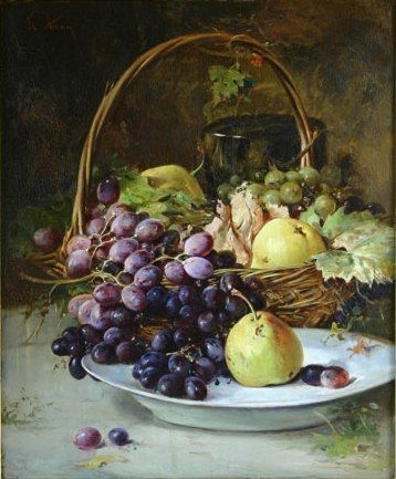 """Fruit Basket"" by Theodor Aman, Style: Realism, Academicism."