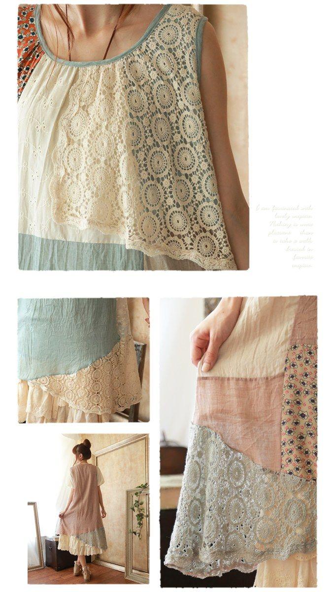 Платья : Свободное лоскутное платье без рукавов и асимметричным низом