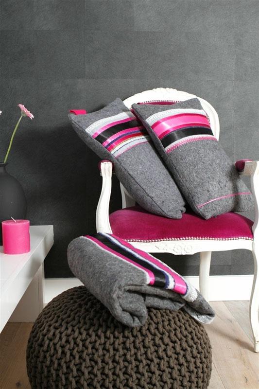 Stoere brede banden, mooie glanzende stoffen en felroze. Stout en Blitz zijn perfect voor in de stoere meidenkamer.