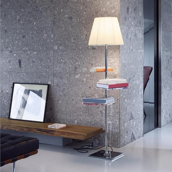 The Bibliotheque National Floor Lamp from FLOS features a chrome-plated body with a transparent, plisse cloth, aluminum bronze, or fumee shade. http://www.ylighting.com/flos-bibliotheque-nationale-floor-lamp.html