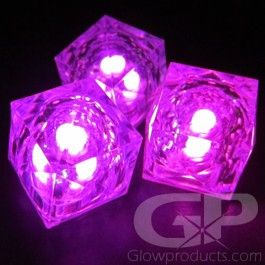 pretty pink glowing led ice cubes create pink themed glowing drinks and displays