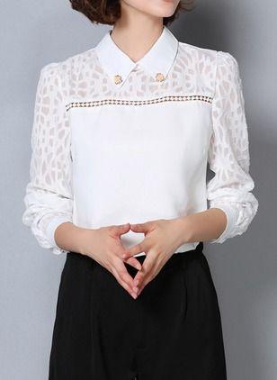 Llanura Casuales Poliéster Cuello Manga larga Camisas de