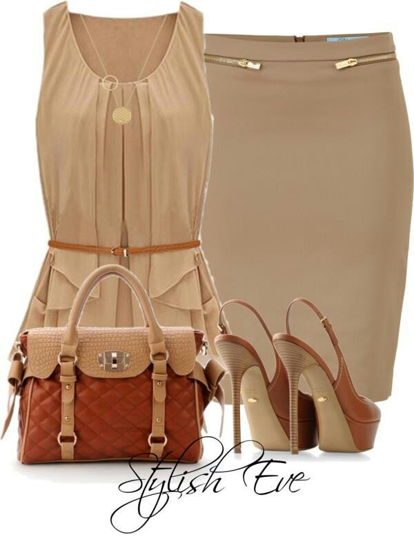 Beige Pencil Skirt Outfit