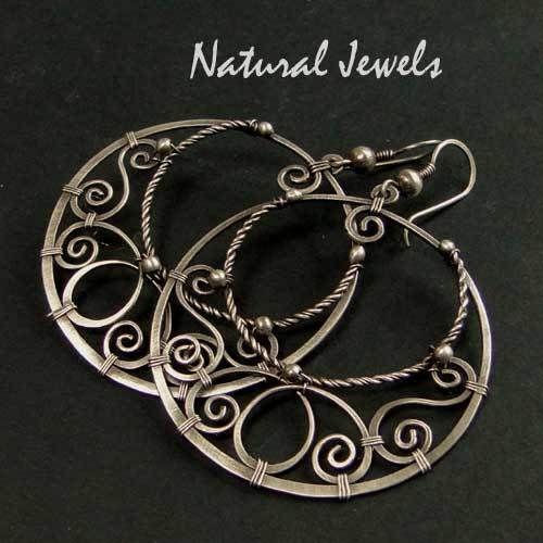 5286bc22b2fd Ohrhänger   Ohrringe - Sterling Silber Ohrringen SHIVA S HOOPS - ein  Designerstück von NaturalJewels bei DaWanda   even more wire creations    Pinterest ...