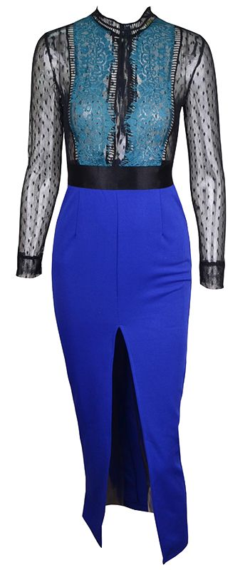 Mesh colorblock dress with sexy front slit. Run true to size.