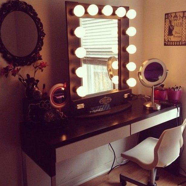vanity table with lights and dressing design on pinterest lighting b