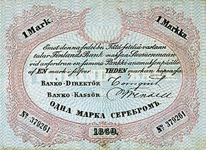 Yhden markan seteli 1860 - V.1857 Snellmanin vaimo Johanna kuoli kuudennen lapsen syntymän jälk.lapsivuoteelle, ja Snellman jäi leskenä kasvattam.viittä pientä lasta.Hän sai 1859 kanslianeuvoksen arvon.Hänet vihitt.kunniatohtoriksi 1860.Hän oli 1860-1861 myös pedagogiikan vt.professori.Keisari Aleksanteri II nimitti 18652 Snellmanin senaattoriksi,hallituksen jäseneksi ja Suomen valtiovarojen hoitajaksi.Tehtävässä Snellman vastasi kansallisesta budjetista.