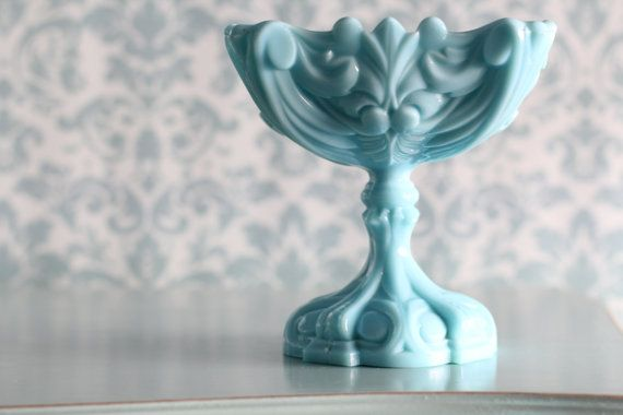 """Milk glass compote  6"""" x 6"""" wide 6.5"""" tall"""