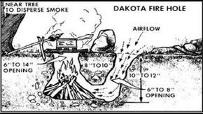 Here is a Dakota firepit. You dig it in the dirt when you dont have another way to cook. Its safe with the fire in the ground. It burns hot and efficiently with sticks like a rocket stove.    Here is a diagram of how to dig one. Then is a shot of our groups pot of 21 bean soup. You can see it has to be hot to boil a pot of water that big. This is also terrific for boiling water to sanitize it!