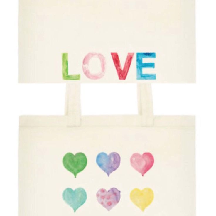 Watercolor Hearts Word Love Tote, Reusable Cotton Tote by OrangePeelPaperie on Etsy