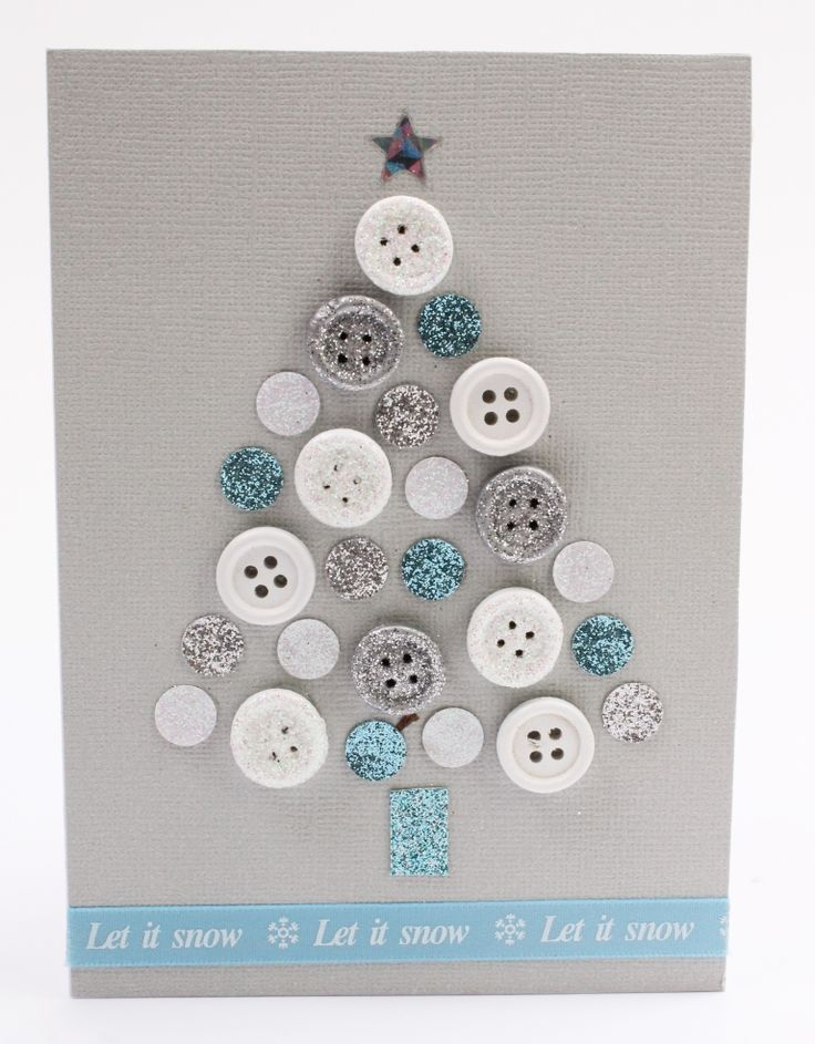 How to Make a Button Tree Christmas Card #christmas #buttons #cardmaking