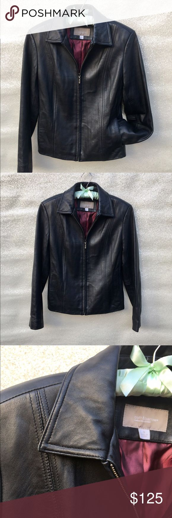 Black Croft & Barrow Lambskin Leather Jacket Sleek black lambskin leather jacket with pockets, zipper & wine-colored nylon/polyester lining. Fits like small/medium 4/6. croft & barrow Jackets & Coats Utility Jackets