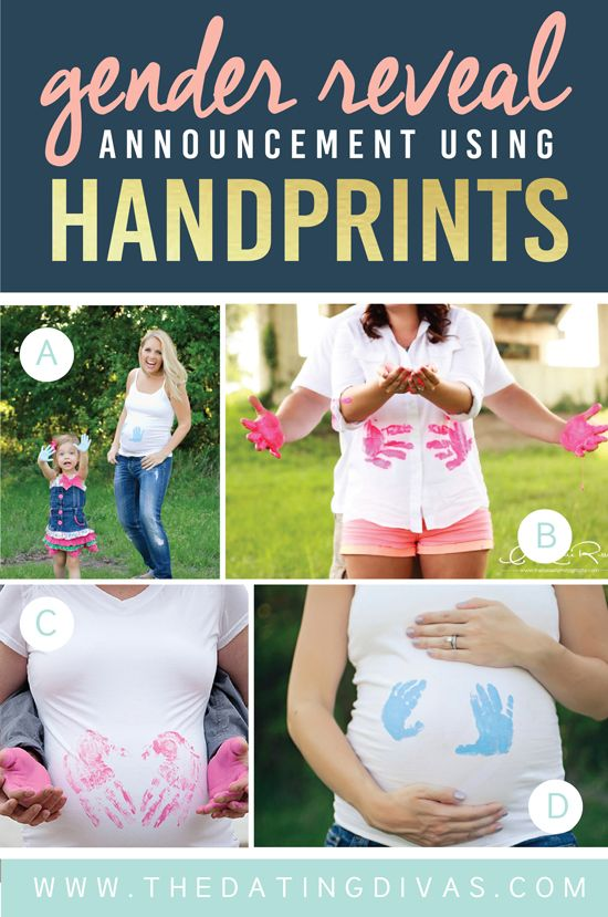 Gender-Reveal-Announcement-Using-Painted-Handprints