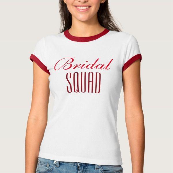 """T-shirt """"Bridal squad"""". (rood)"""