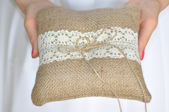 Burlap ring pillow Burlap Ring Bearer Pillow with Ivory / Ecru and Gold cotton lace Ring cushion Woodland / Rustic / Cottage style Weddings