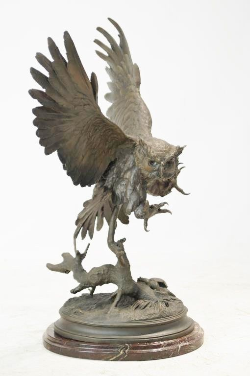 Bronze Sculpture, After Jules Moigniez ( French 1835-1894), Le Hibou-The Owl,#933 933. Description: High quality bronze sculpture created in the lost wax method and has a beautiful patina. Sits on a f