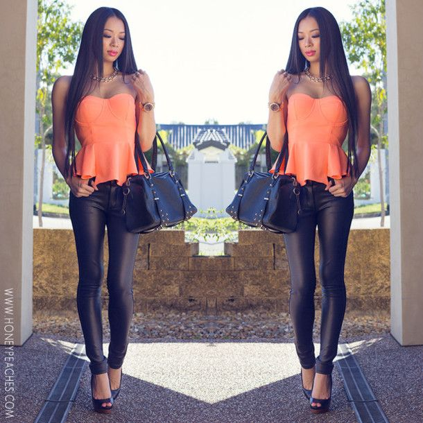 http://picture-cdn.wheretoget.it/id9nrc-l-610x610-blouse-bustier-neon-coral-peplum-top-high-heels-black-leather-leggings-handbags-bag.jpg
