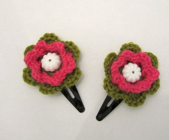 Crochet Flower Hair Clips Pink Green And White Hair Pin by ShopF4m, $ ...
