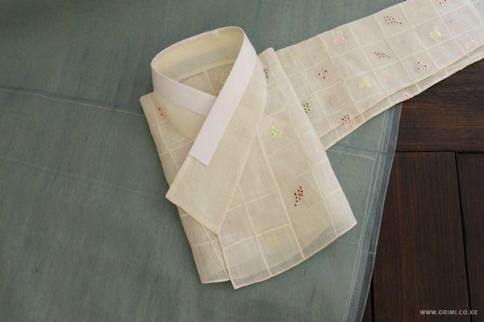 오리미한복 :: 여름 한복, 격자 무늬의 하얀 모시 저고리
