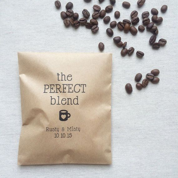 The perfect blend coffee favor bags are brown paper bags, perfect for weddings, showers and parties! Use these brown paper bags as perfect packaging for coffee!  Printed with the perfect blend and your custom event details.  Brown Paper Bags are 5 x 7 3/4 kraft paper, flat style. This listing of for a set of 50  Custom designs and sayings are also available! Contact me if you have any questions