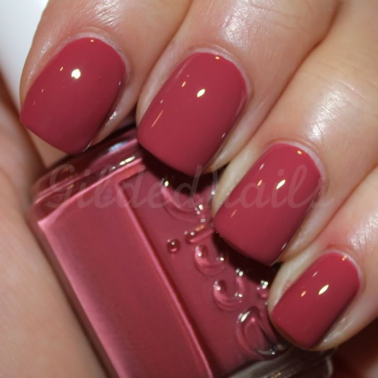 """Essie - Raspberry Red. Perfect for fall. I have a real issue with charging $8 for nail polish but this .... this might be worth it. Perfect shade of """"pink"""" :)"""