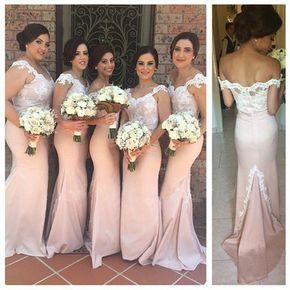 Lace Bridesmaid Dress,Long Bridesmaid Gown,Pink Bridesmaid Gowns,Mermaid Bridesmaid Dresses