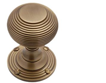Heritage Brass 'Reeded' Mortice Door Knob, Antique Brass - V971-AT (sold in pairs)