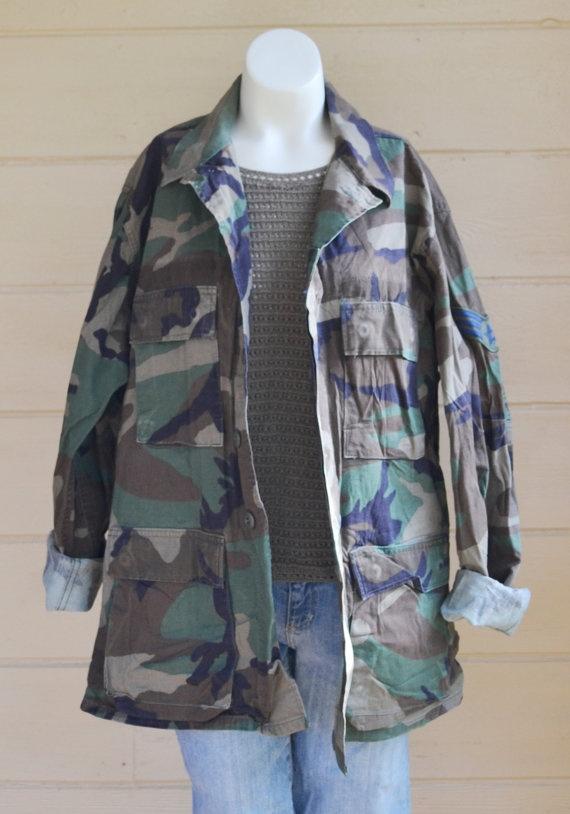 Vintage Military Camo Shirt Coat Jacket Army by founditinatlanta, $40.00