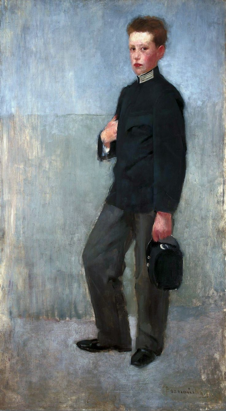 Portrait of a boy in middle school uniform by Olga Boznańska, ca. 1890 (PD-art/70), Muzeum Narodowe w Warszawie (MNW)