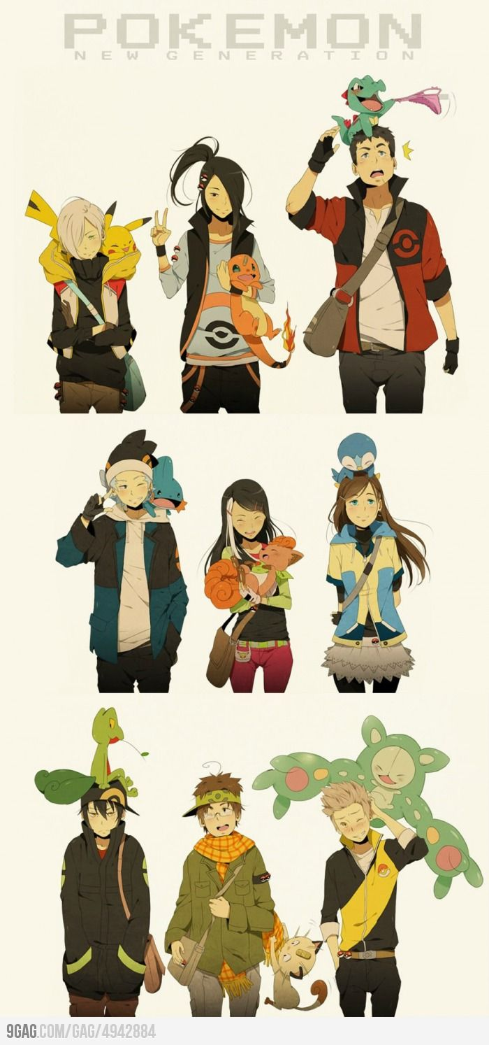 Really like this art :) the Pokemon look super adorable and the people look like proper people lol