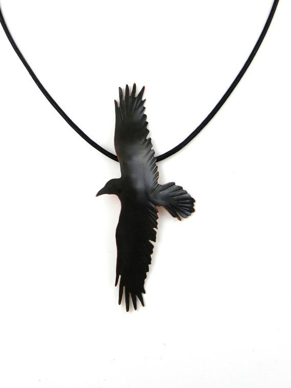 Handmade black patina copper crow pendant, crow jewelry, crow necklace, raven necklace, goth jewelry, working artists team, canteam, corvus