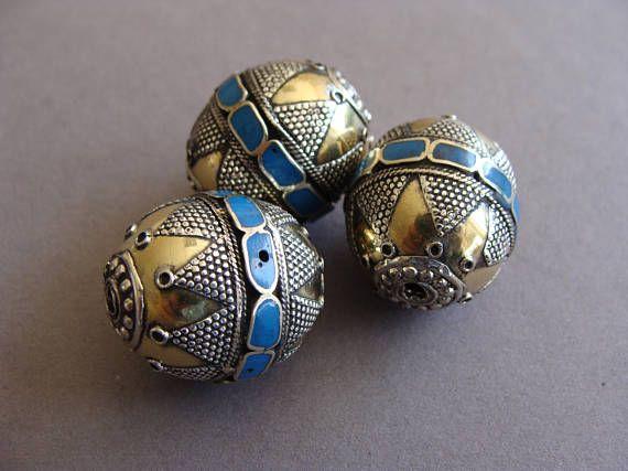 Blue Pendants ethnic beads,metal Kazakh beads, ethnic tribal jewelry, afghan jewelry,Tribal Metal Beads,Turkmen Gilet Metalbead, Vintage