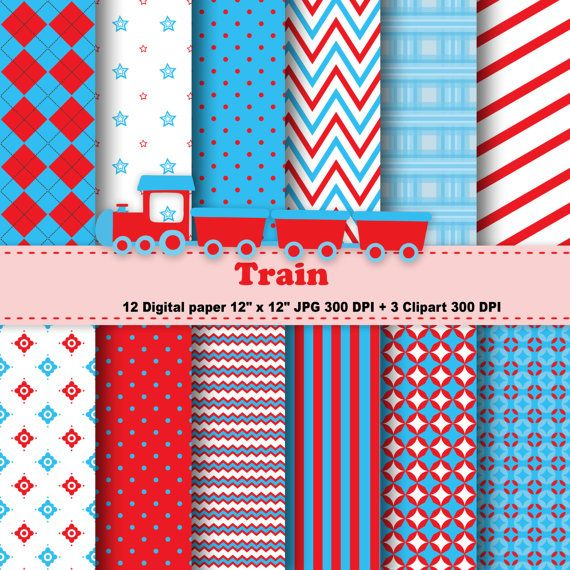 Train Digital Paper, Train Clipart, Transportation, Polka Dot, Chevron, Stripe, Red, Blue, Background, Pattern, Clipart, Commercial Use.