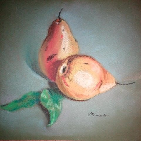 Натюрморт с грушами, пастель