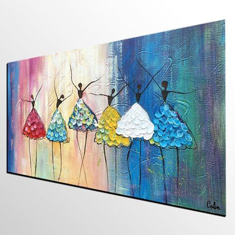 Abstract Landscape Painting, Cypress Tree under Starry Night Sky Painting, Canvas Painting, Oil Painting, Canvas Wall Art, Bedroom Painting