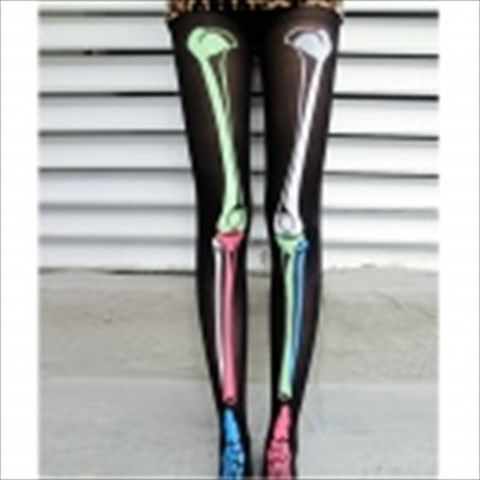 Fashionable Punk Style Skeleton Pattern Velvet Leggings for Women - Black + Multicolored