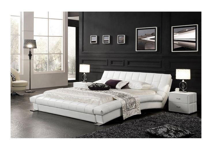 Lit capitonné + sommier NEPTUNE 160x200 cm - Blanc - Mymeubledeco