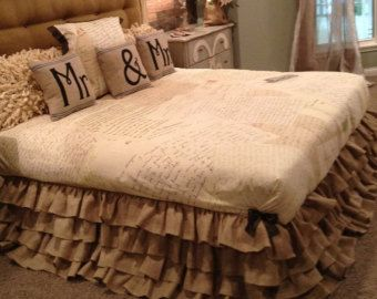 Burlap Ruffled Bedskirt by PaulaAndErika on Etsy