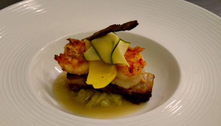 Pork belly with braised leeks, king prawns and mango #RecipeOfTheMonth